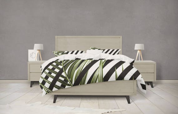 Tropical Black and White Duvet Cover with Leaves Design by daysenddesigns