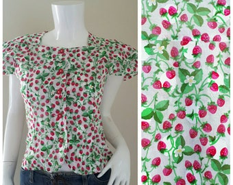80s Cotton RUFFLED Blouse Vintage 1980s Cotton  novelty Print Blouse Small Size