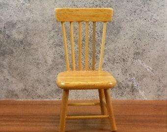 Dollhouse Miniature Furniture in twelfth scale or 1:12 scale.  Oak dining chair.  Item #198.