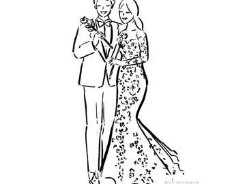 Custom wedding illustration, Wedding art, Wedding Illustration, Custom Wedding Gift, Wedding Anniversary Illustration, Personalized Wedding