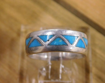 Turquoise Inlay Sterling Silver Band Ring Size 10 1/4