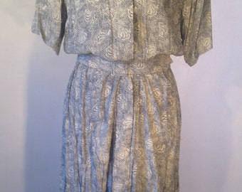 Karin Stevens Vintage Dress // Designer Clothing // Size 12 // Blue and White Print // 1970s Dress