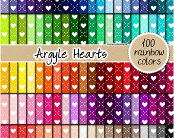 SALE 100 heart digital paper valentine's day digital paper wedding digital paper rainbow heart pattern pastel bright heart clipart 12x12