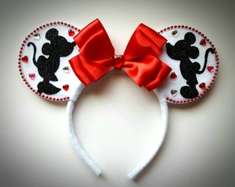 Kissing Mickey & Minnie Mouse Love inspired Ears Headband Hearts/Pink/Red/White/Valentines/Birthday/Celebrate/