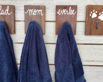Towel hooks, set of 4, family names wall hooks, bathroom decor, towel hangers, housewarming gift, wedding gift