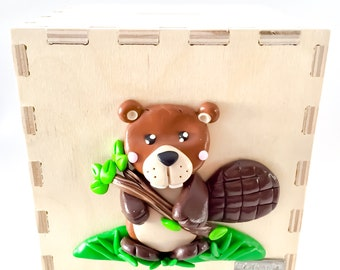 Wooden money box with Beaver in polymer clay, Beaver, Beaver, Beaver Fimo Bank piggy bank