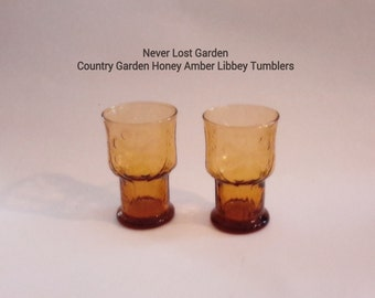 Country Garden Honey Amber Libbey Tumblers Vintage