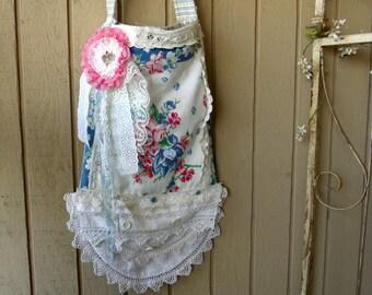 Cross Body Messenger Purse Bag, Vintage Towel Purse,  Ticking Lining, Handmade, One of a Kind, Shabby Cottage, Boho Chic