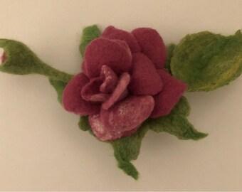 Flower Brooch Wet Felted ,Pink Rose
