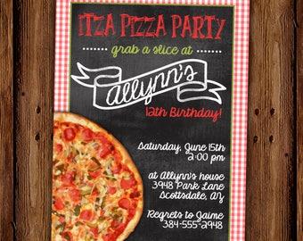 Pizza Party Invitation - Itza Pizza Party Birthday Invitation - Pizza Party - PRINTABLE or Printed Cards