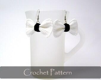 CROCHET PATTERN - Crochet Bow Earrings Bows Pattern Earrings Pattern Crochet Jewelry Pattern Tutorial PDF - P0018