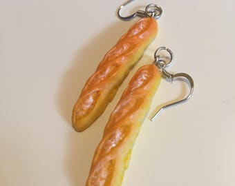 Cute Mini French Bread Earings; Baguette jewelry, quirky accesories, unqiue miniatures