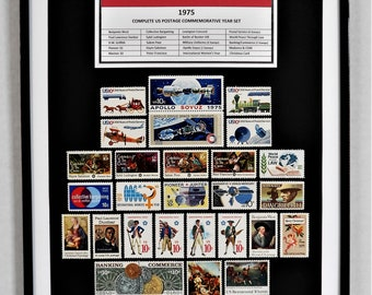 1975 Complete US Postage Commemorative Year Set - Birth Year Gift - Postage Art