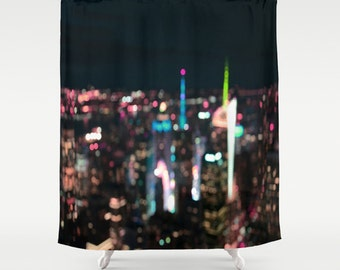 New York Manhattan Time Square Abstract . Shower Curtain, modern, home, bathroom,photography, city, urban, night sky, dreamy, noir, goth