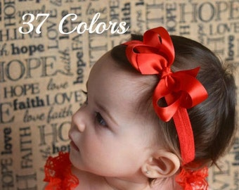 Satin Bow Headband, Baby Bow Headband, Baby Bows, Bow Headband, Baby Headbands, Girls Headbands, Toddler Headband, Infant Headband, Hair Bow