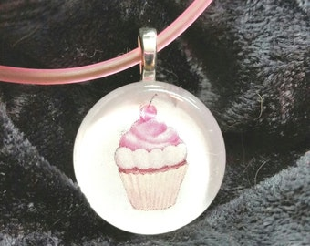 Cupcake Pendant with Matching Rubber Necklace