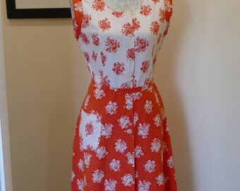 Sweet Sixties Cool Cotton Sun Dress. Orange and White Ditsy Floral Print.