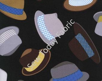 Fedoras - Hat Toss on Black - Timeless Treasures FUN-C1122-BLACK (sold by the 1/2 yard)