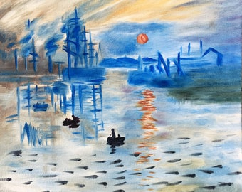 Claude Monet Impression Sunrise Oil seascape Oil landscape painting Impressionism Original Oil painting Art reproduction Sunset and boat art