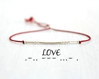 Valentines Day Gift Love Morse Code Bracelet Dainty Sterling Silver Beaded Bracelet Minimalist Inspirational Jewelry Red Silk Cord Bracelet