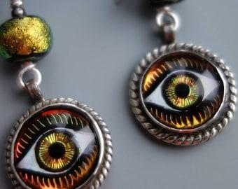 Art Glass Eye Sterling Earrings