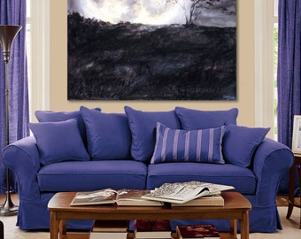 OVERSIZED PRINT Full Moon, Tree Art canvas, black, white, gray, violet & ivory pastel painting by Kauai, Hawaii artist Donia Lilly: Moonrise