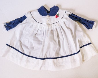 Adorable Vintage Infant Girl's Dress and Pinafore Set