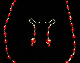 Red Jade Necklace and Earrings Set