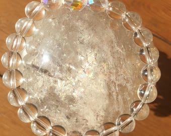 Divine Light ~ Clear crystal quartz, angel aura quartz, stretch bracelet