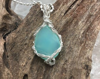 Stunning Aqua Chalcedony Pendant Necklace - Wrapped with Sterling on Sterling Chain