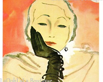 1930 Darling Dowager Vogue Cover Vintage 1980 Fashion Print Erickson Illustration Art Haute Couture Woman Black Opera Gloves Pink Wall Decor