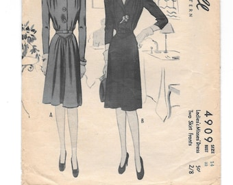 1940s DRESS ~ Vintage Sewing Pattern ~ Misses Size 12 ~ One Piece Dress Two Skirt Fronts ~ Three Sleeve Lengths ~ 40s Swing Era McCall 4909