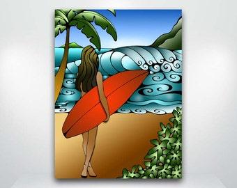 Girl Surfing Waves Hawaii Surf Art Red Surfboard  Fine Art Giclée Print  #Hawaii