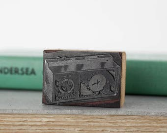 Vintage Thermostat Letterpress Printing Block Stamp, Advertising Cut, Wood Metal Printers Stamp, Printing Press Stamps, Salvage