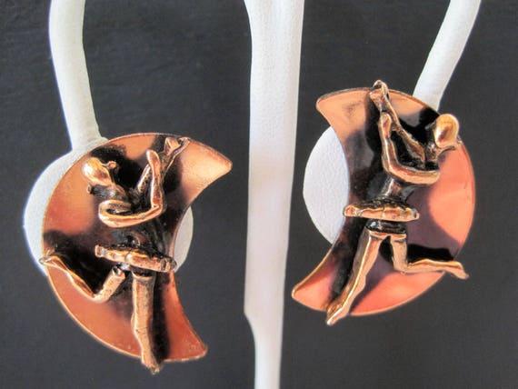 Ballet Dancer Earrings, Mid Century Copper, Vintage Clip Ons