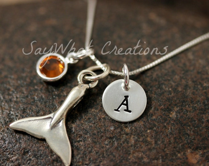 Sterling Silver Mini Initial Hand Stamped Whale Tail Charm Necklace
