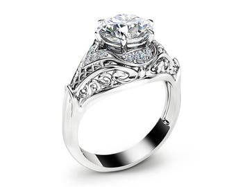 Moissanite Engagement Ring Moissanite Halo Ring in 14K White Gold Unique Engagement Ring