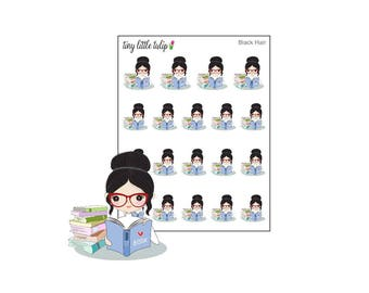 Planner Stickers Doodle Girl Reading Stickers