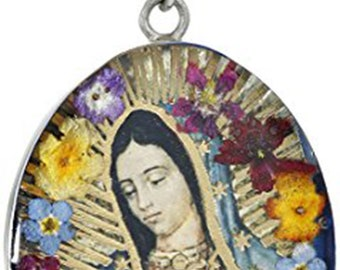 women's jewelry Sterling Silver Virgin Mary of Guadalupe Pressed Flower Pendant Necklace, 18
