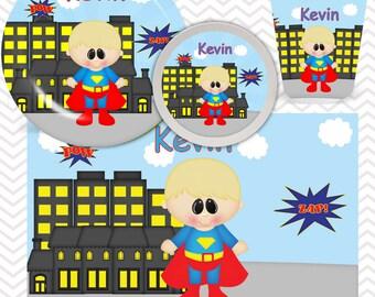 Superman Plate, Bowl, Cup, Placemat - Personalized Super Hero Dinnerware for Kids - Custom Tableware