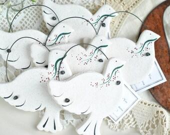Dove Wedding / Baptism Gifts Salt Dough Ornaments Set of 6 Napkin Ring Favors