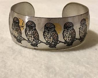 Vintage Owl Cuff Bracelet; Reed & Barton
