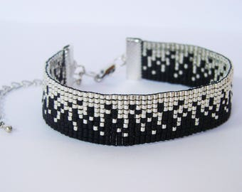 Bracelet silver sand and black - Miyuki glass beads