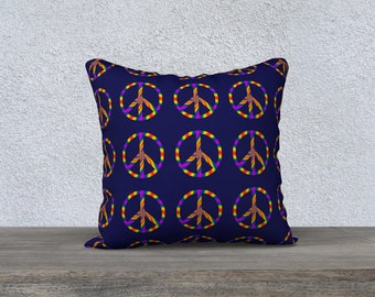 Rainbow Peace Sign 18x18 Pillow