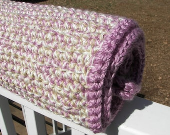 Thick Baby Blanket - Blackberry Tan and White Crochet - Triple Strand - Warm Blanket - Multicolor - Purple - Baby Shower Gift