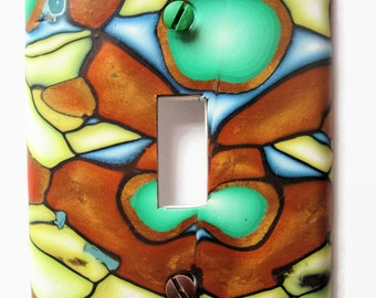 Light Switch Cover, Single Switchplate, Toggle Switch Plate, Copper and Green with Yellow and Blue Accents