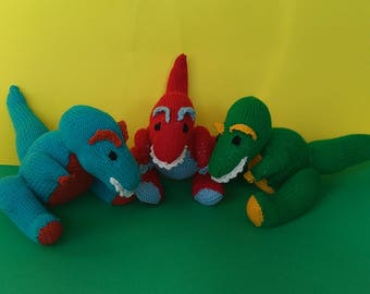 Dinosaur knitted toy