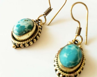 Turquoise Earrings ,Handmade gold plated brass  Earrings,The Buddha Collection by Taneesi on Etsy