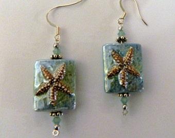Starfish Earrings Starfish Jewelry Starfish Jewellery Starfish Porcelain Beaded Earrings