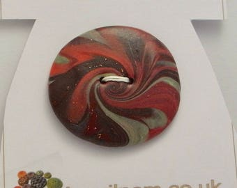 Large Oval Button Handmade Polymer Clay Multicoloured 45x40mm